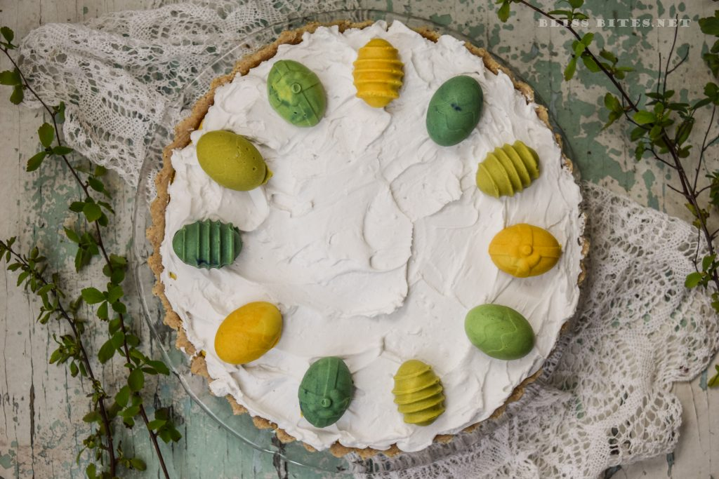 Mango tart with raspberries and coconut whipped cream (No bake, GF, Sugar-free, Plant-based)
